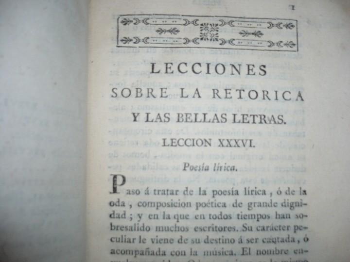 Libros antiguos: LECCIONES SOBRE RETORICA Y BELLAS LETRAS HUGO BLAIR 1801 MADRID TOMO 4º - Foto 5 - 109044999