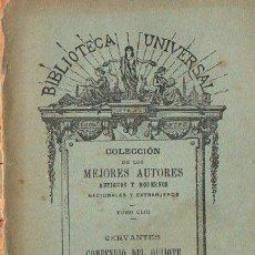 Libros antiguos: CERVANTES : COMPENDIO DEL QUIJOTE (BIBL. UNIVERSAL, 1905). Lote 109477495