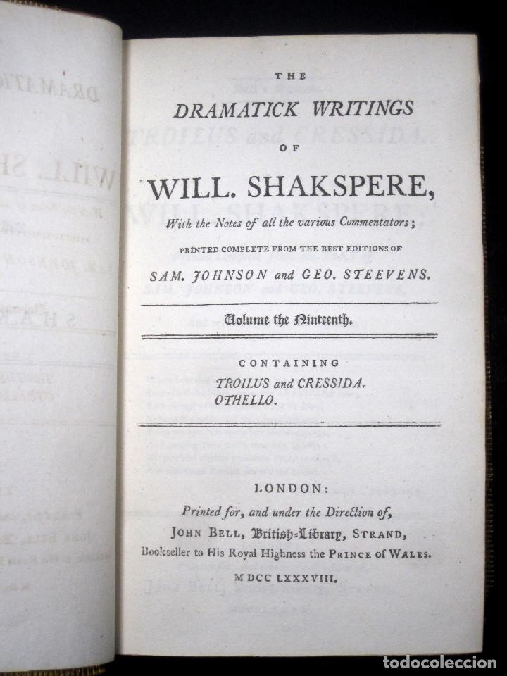 Libros antiguos: Año 1788 Shakespeare Otelo Troilo y Crésida 4 grabados a plena página 2 obras en un volúmen Othello - Foto 8 - 109644651