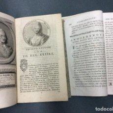 Libros antiguos: ORATORUM GRAECORUM QUORUM PRINCEPS EST DEMOSTHENES, IOANNES IACOBUS REISK, I Y II, AÑO 1770, RARO. Lote 109875707