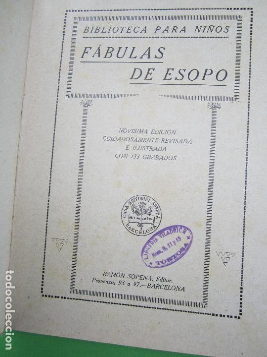 Libros antiguos: biblioteca para niños , ramon sopena 1925 , fabulas de esopo , - Foto 2 - 110752879