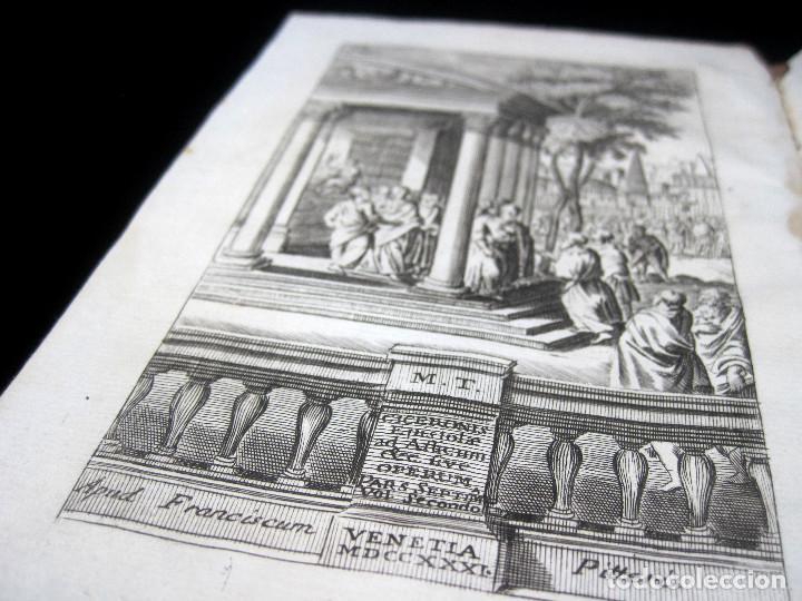 Libros antiguos: Año 1731 Cicerón Cartas a Ático Cartas a su hermano Venecia Frontispicio grabado Antigua Roma - Foto 3 - 111535731