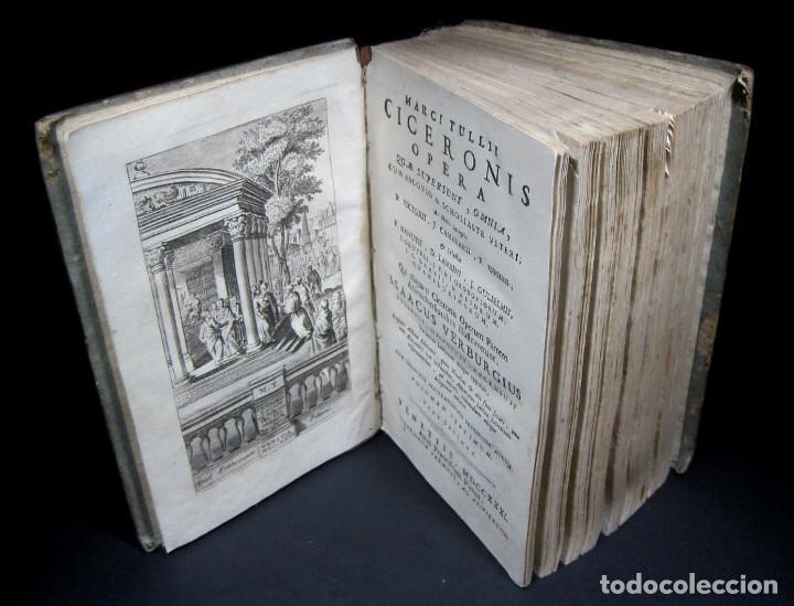 Libros antiguos: Año 1731 Cicerón Cartas a Ático Cartas a su hermano Venecia Frontispicio grabado Antigua Roma - Foto 4 - 111535731