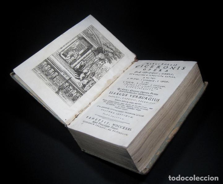 Libros antiguos: Año 1731 Cicerón Cartas a Ático Cartas a su hermano Venecia Frontispicio grabado Antigua Roma - Foto 7 - 111535731