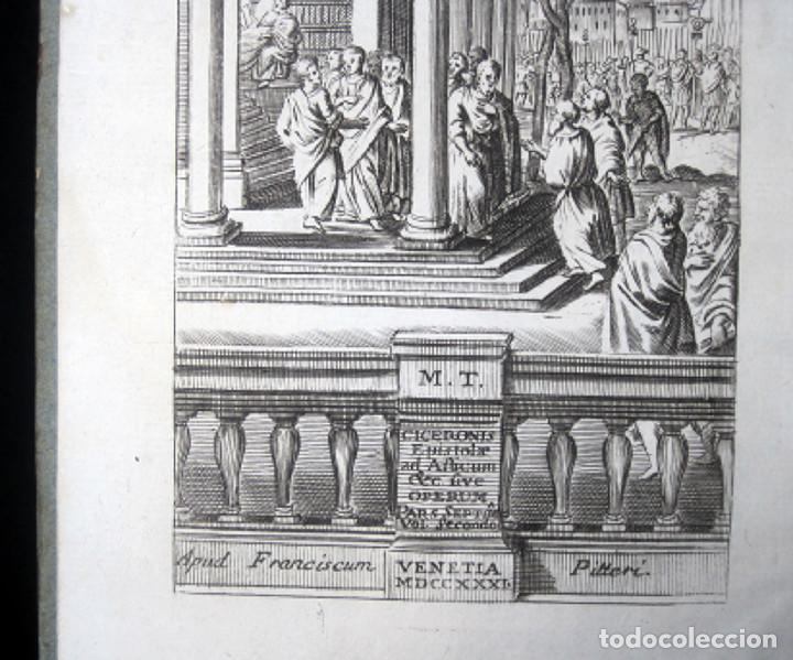 Libros antiguos: Año 1731 Cicerón Cartas a Ático Cartas a su hermano Venecia Frontispicio grabado Antigua Roma - Foto 8 - 111535731