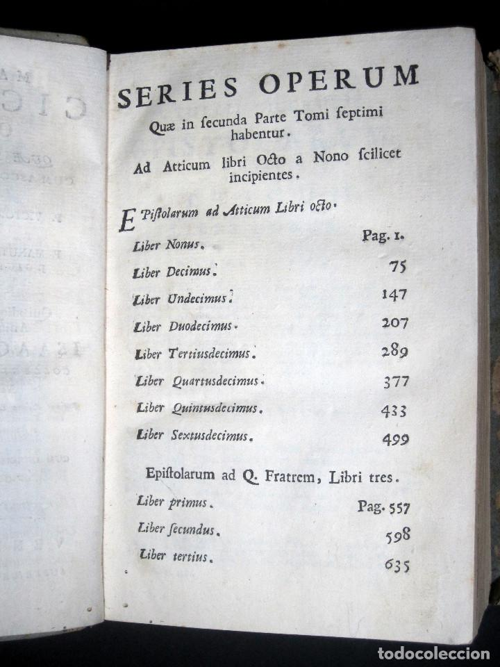 Libros antiguos: Año 1731 Cicerón Cartas a Ático Cartas a su hermano Venecia Frontispicio grabado Antigua Roma - Foto 10 - 111535731