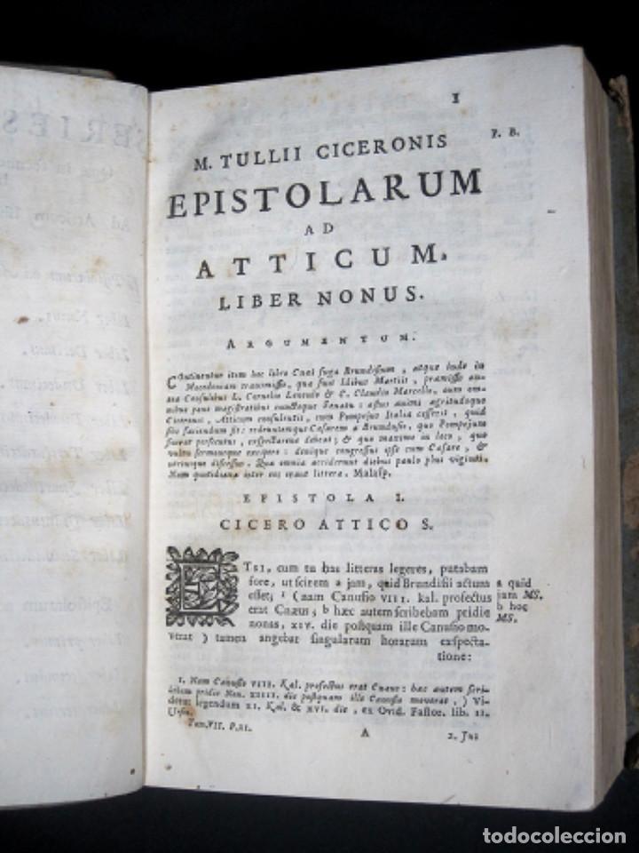 Libros antiguos: Año 1731 Cicerón Cartas a Ático Cartas a su hermano Venecia Frontispicio grabado Antigua Roma - Foto 11 - 111535731
