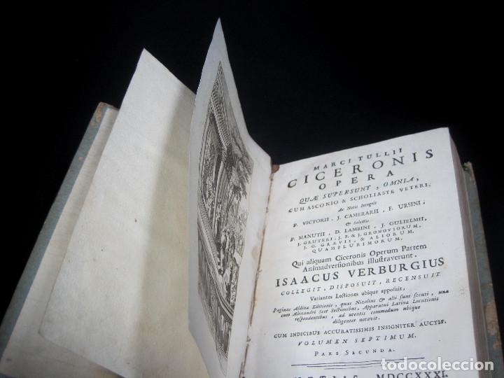 Libros antiguos: Año 1731 Cicerón Cartas a Ático Cartas a su hermano Venecia Frontispicio grabado Antigua Roma - Foto 13 - 111535731