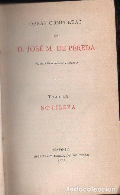 JOSÉ MARÍA DE PEREDA : SOTILEZA (TELLO, 1888) (Libros antiguos (hasta 1936), raros y curiosos - Literatura - Narrativa - Clásicos)