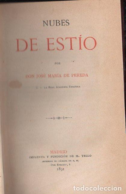 JOSÉ MARÍA DE PEREDA : NUBES DE ESTÍO (TELLO, 1891) (Libros antiguos (hasta 1936), raros y curiosos - Literatura - Narrativa - Clásicos)