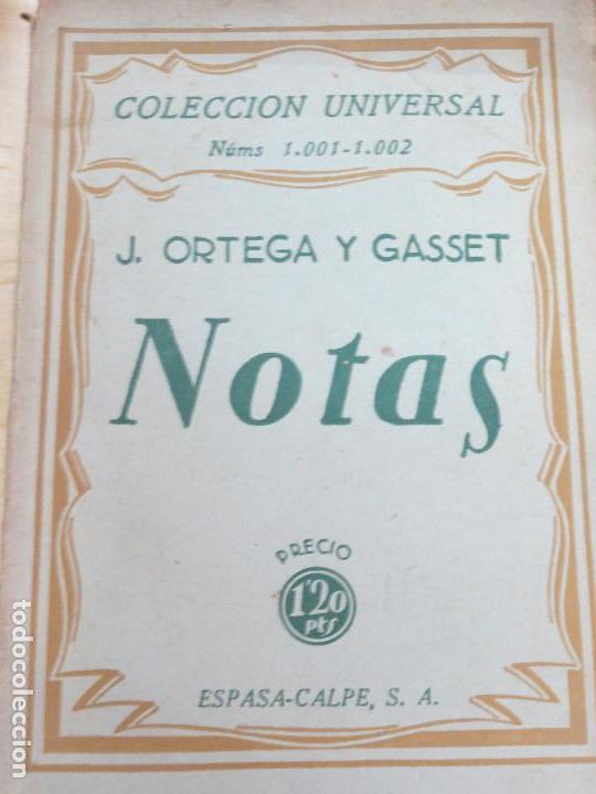 NOTAS J. ORTEGA Y GASSET EDIT ESPASA-CALPE AÑO 1936 (Libros antiguos (hasta 1936), raros y curiosos - Literatura - Narrativa - Clásicos)