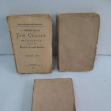 Libros antiguos: DON QUIJOTE DE LA MANCHA. M. CERVANTES. 1885. 3 TOMOS. BIBLIOTECA MICROSCOPICAS. HERMANOS COSO.. Lote 118717987