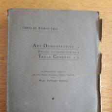Libros antiguos: ART DEMOSTRATIVA, REGLES INTRODUCTÒRIES, TAULA GENERAL / RAMON LULL / EDI. DIPUTACIÓ PROVINCIAL DE B. Lote 119600015