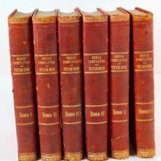 Libros antiguos: L- 351. OBRAS COMPLETAS DE VICTOR HUGO. EDICION LUJO. 6 VOLUMENES. 1886-1888.. Lote 125278263