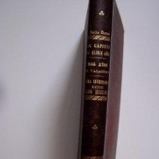 Libros antiguos: TOMO CON TRES OBRAS DE JULIO VERNE, EDITORIAL SAENZ DE JUBERA, HERMANOS. LOMO EN PIEL CON TÍTULOS E. Lote 126298471