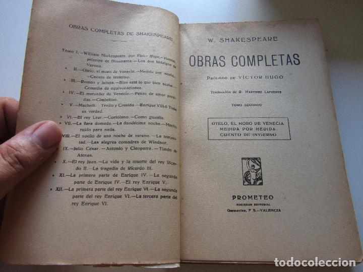Libros antiguos: LIBRO OBRAS COMPLETAS. W. SHAKESPEARE - TOMO 2. OTELO / MEDIDA POR MEDIDA... - ED. PROMETEO cs137 - Foto 2 - 128880831