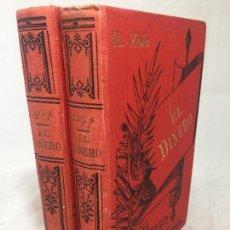 Libros antiguos: EMILIO ZOLA EL DINERO 1895 MADRID DOS TOMOS BUEN ESTADO LA ESPAÑA EDITORIAL TELA GOFRADA. Lote 130088475