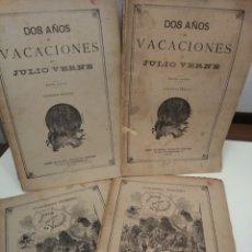 Libros antiguos: DOS AÑOS DE VACACIONES JULIO VERNE SAENZ DE JUBERA EDITORES 1890 GRABADOS COMPLETO 4 CUADERNOS. Lote 130813160