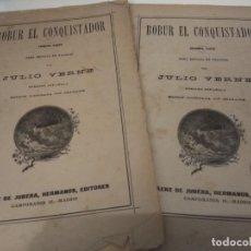 Libros antiguos: ROBUR EL CONQUISTADOR JULIO VERNE SAENZ DE JUBERA EDITORES CIRCA 1890 GRABADOS COMPLETO 2 CUADERNOS. Lote 131013136