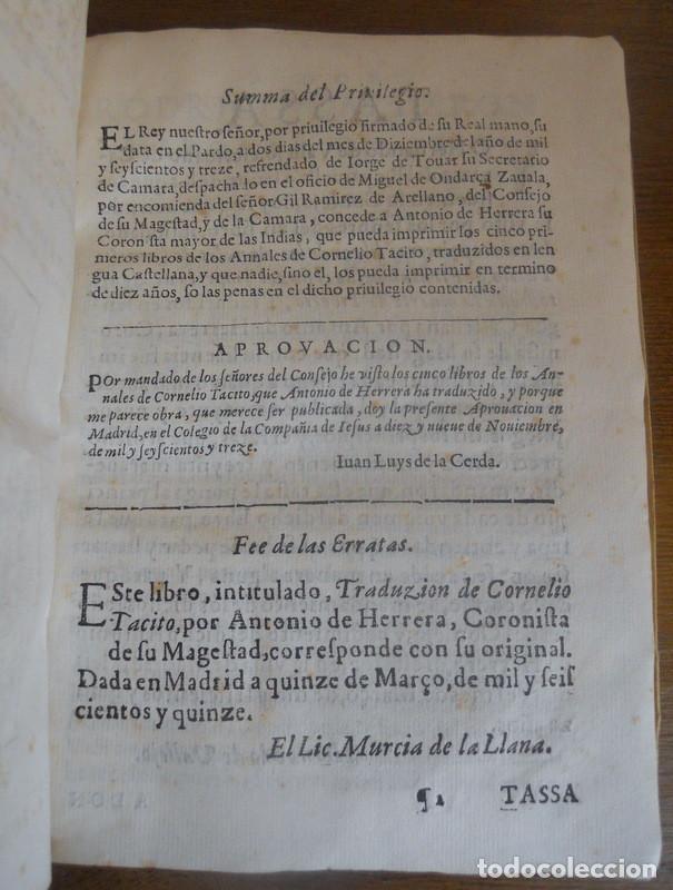 Libros antiguos: LOS CINCO PRIMEROS LIBROS DE LOS ANNALES DE TÁCITO. JUAN DE LA CUESTA, 1615. IMPRENTA QUIJOTE - Foto 3 - 131113192