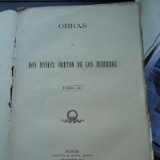 Libros antiguos: LIBRO. OBRAS DE BRETON, TOMO III. 1883. OBRAS, TEATRO, . Lote 131795322