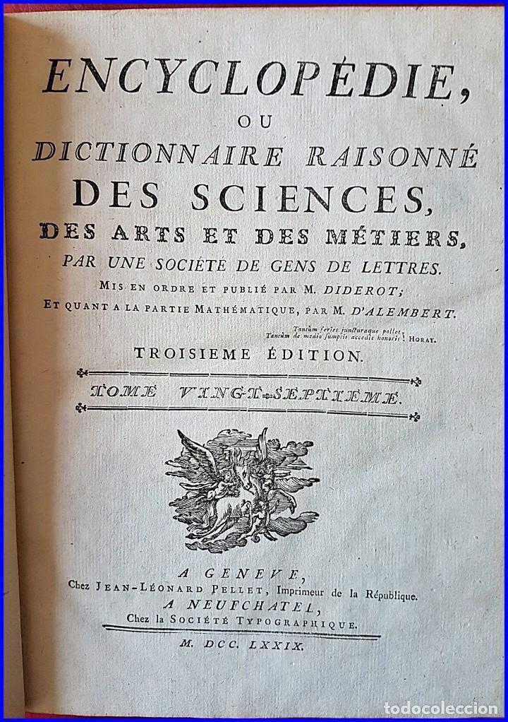 AÑO 1779: LA ENCICLOPEDIA DE DIDEROT. SIGLO XVIII. 26CM. Y CASI 1000 PÁGINAS (Libros antiguos (hasta 1936), raros y curiosos - Literatura - Narrativa - Clásicos)
