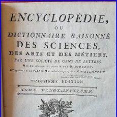 Libros antiguos: AÑO 1779: LA ENCICLOPEDIA DE DIDEROT. SIGLO XVIII. 26CM. Y CASI 1000 PÁGINAS. Lote 161627402
