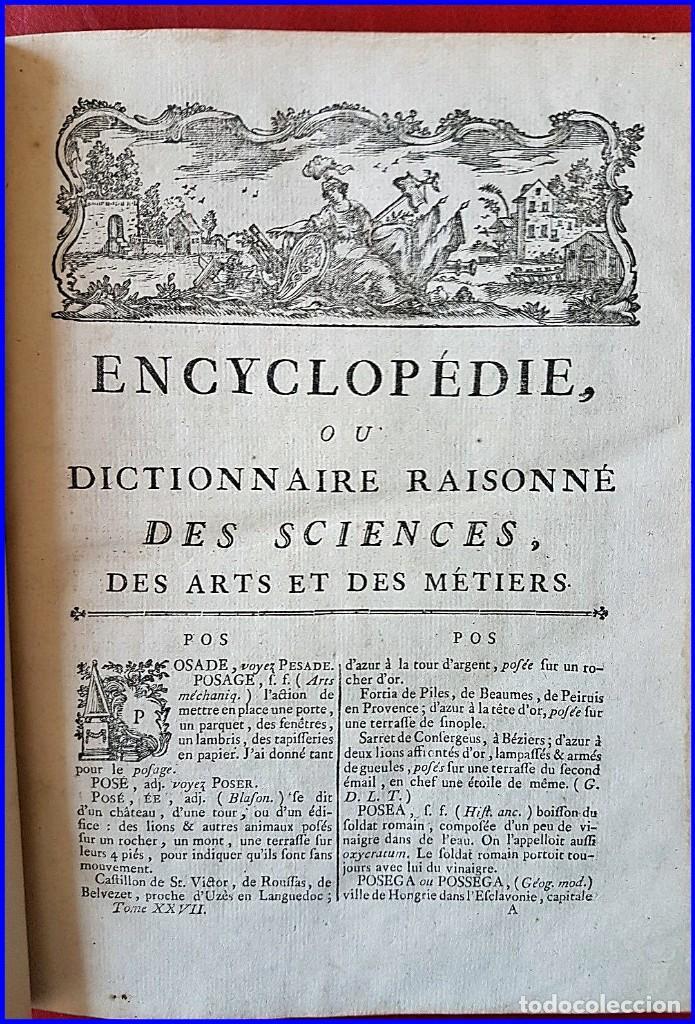 Libros antiguos: AÑO 1779: LA ENCICLOPEDIA DE DIDEROT. SIGLO XVIII. 26CM. Y CASI 1000 PÁGINAS - Foto 4 - 161627402