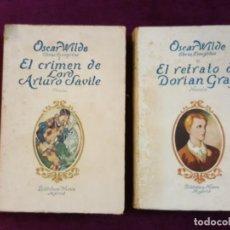Libros antiguos: OBRAS ESCOGIDAS DE OSCAR WILDE. BIBLIOTECA NUEVA. 2 LIBROS EL RETRATO DE DORIAN GREY Y EL CRIME DE L. Lote 132800550