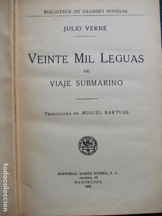 Libros antiguos: Veinte mil leguas de viaje submarino Julio Verne 1.933 Editorial Sopena - Foto 3 - 134937474