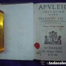 Libros antiguos: APULEIO DELL ASINO D ´ORO.TRADOTTO PER M. A. FIRENZUOLA. IN FIRENZE MDIIC ( 1598 ). Lote 139388982