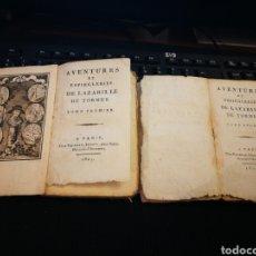 Libros antiguos: LAZARILLO DE TORMES. PARIS 1807. 2 VOLÚMENES. RUSTICO SIN PASTA. RAROS.. Lote 141587137