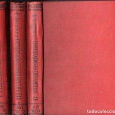 Libros antiguos: ECKERMANN : CONVERSACIONES CON GOETHE EN LOS ÚLTIMOS AÑOS DE SU VIDA - TRES TOMOS (CALPE, 1920). Lote 143611246