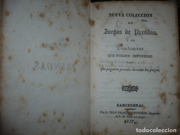 Alte Bücher: NUEVA COLECCION DE 84 JUEGOS DE PRENDAS 1837 BARCELONA - Foto 2 - 144055806