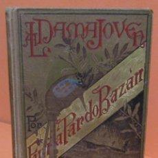 Livros antigos: EMILIA PARDO BAZAN 1 EDICION AÑO 1885 LA DAMA JOVEN Y OTROS CUENTOS DIBUJOS M OBIOLS GRABADOS THOMAS. Lote 146719974