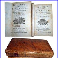 Libros antiguos: AÑO 1786: OBRAS DE RACINE. 2 TOMOS DEL SIGLO XVIII.. Lote 147076798