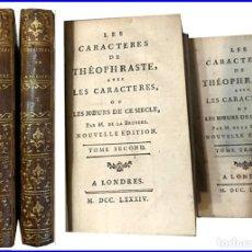 Libros antiguos: AÑO 1784: LOS CARACTERES DE TEOFRASTO. 2 TOMOS DEL SIGLO XVIII.. Lote 147363966