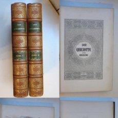 Libros antiguos: EL QUIJOTE - PRIMERA EDICION DE DOS VOLUMENES ILUSTRADA POR TONY JOHANNOT - 1836/1837 - 800 GRABADOS. Lote 147945382