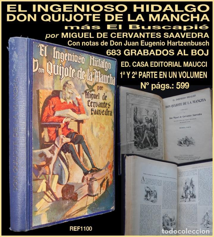 PCBROS - DON QUIJOTE DE LA MANCHA - M. DE CERVANTES S. - ED. MAUCCI - 683 GRABADOS AL BOJ - 599 PÁGS (Libros antiguos (hasta 1936), raros y curiosos - Literatura - Narrativa - Clásicos)