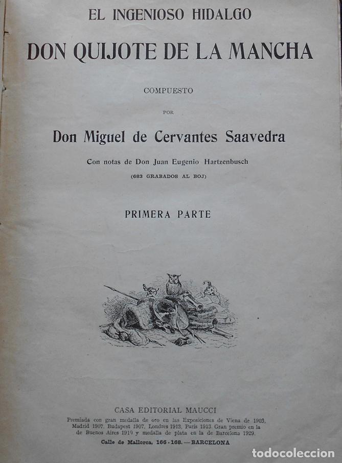 Libros antiguos: PCBROS - DON QUIJOTE DE LA MANCHA - M. DE CERVANTES S. - ED. MAUCCI - 683 GRABADOS AL BOJ - 599 PÁGS - Foto 5 - 147979266