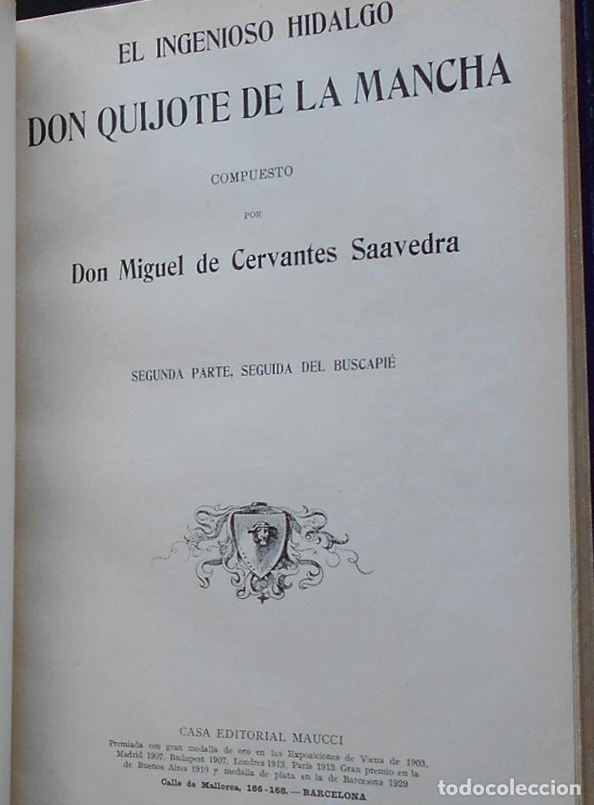 Libros antiguos: PCBROS - DON QUIJOTE DE LA MANCHA - M. DE CERVANTES S. - ED. MAUCCI - 683 GRABADOS AL BOJ - 599 PÁGS - Foto 21 - 147979266