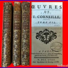 Libros antiguos: AÑO 1758: OBRAS DE CORNEILLE. 3 TOMOS DEL SIGLO XVIII.. Lote 148214146
