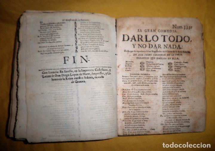 Libros antiguos: AMENO JARDIN DE COMEDIAS - AÑO 1734 - COMEDIAS SIGLO DE ORO ESPAÑOL - PERGAMINO·MUY RARO. - Foto 18 - 148475150