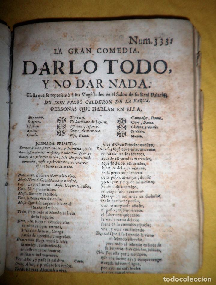 Libros antiguos: AMENO JARDIN DE COMEDIAS - AÑO 1734 - COMEDIAS SIGLO DE ORO ESPAÑOL - PERGAMINO·MUY RARO. - Foto 19 - 148475150