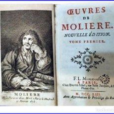 Libros antiguos: AÑO 1753: OBRAS DE MOILÉRE. LIBRO ILUSTRADO DEL SIGLO XVIII MUY BIEN CONSERVADO.. Lote 151641062