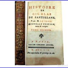 Libros antiguos: AÑO 1759: HISTORIA DE GIL BLAS DE SANTILLANA. LIBRO DEL SIGLO XVIII.. Lote 151852586