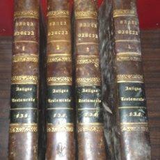 Libros antiguos: LOTE 4 TOMOS LIBROS LA BIBLIA ANTIGUO TESTAMENTO POR FELIPE SCIO AÑO 1852. Lote 156260190