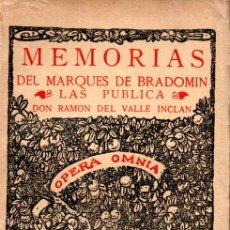 Libros antiguos: VALLE INCLAN : MEMORIAS DEL MARQUÉS DE BRADOMIN - SONATA DE OTOÑO (RIVADENEYRA, 1933). Lote 159417677