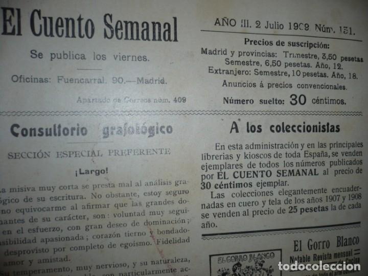Libros antiguos: EL CUENTO SEMANAL AÑO III DESDE EL Nº 131 AL 157 AÑO 1909 MADRID - Foto 3 - 159588770
