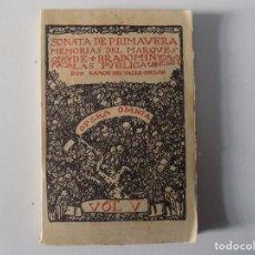 Libros antiguos: LIBRERIA GHOTICA. RAMON DEL VALLE-INCLAN. SONATA DE PRIMAVERA.MEMORIAS DEL MARQUES DE BRADOMIN. 1940. Lote 160463202